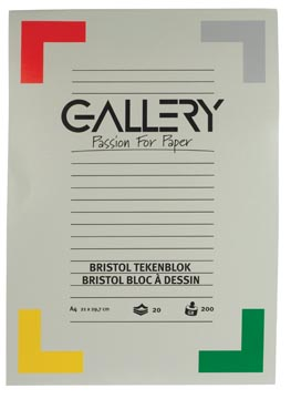 Gallery Bristol tekenblok, ft 21 x 29,7 cm , A4, 200 g m², 20 vel