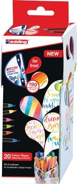 edding Colour Happy box, assortiment met 20 stuks in geassorteerde kleuren