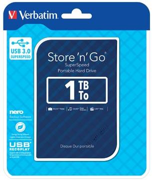 Verbatim harde schijf 3.0 Store 'n' Go, 1 TB, blauw