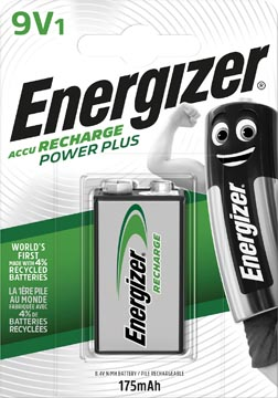 Energizer herlaadbare batterij Power Plus 9V, op blister