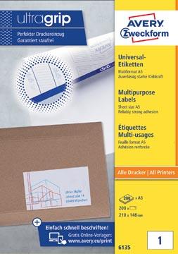 Avery universele etiketten Ft 210 x 148 mm (b x h), wit, doos va n 200 etiketten