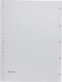 Pergamy tabbladen, ft A4, 23-gaatsperforatie, grijze PP, set 1-5